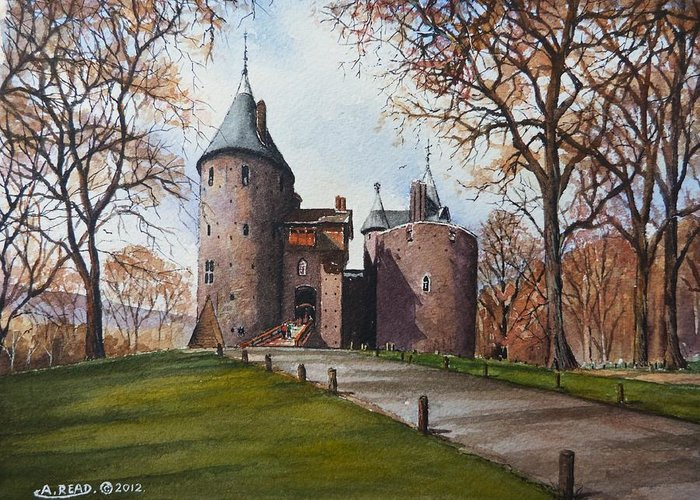 Castell Coch Greeting Card featuring the painting Castell Coch by Andrew Read