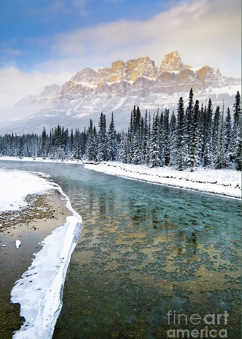 Alberta Greeting Card featuring the photograph Castle In The Mist by Ginevre Smith