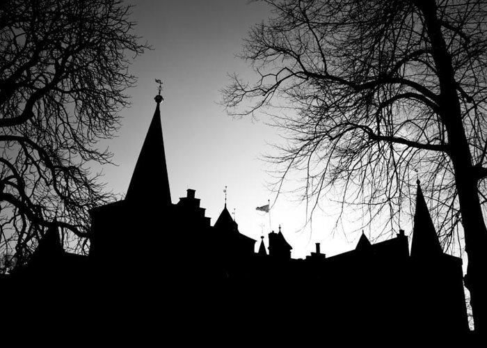 Black Greeting Card featuring the photograph Castle Silhouette by Semmick Photo