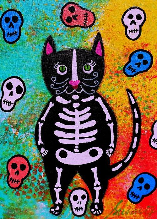Cat dia de los muertos greeting card for sale by pristine cartera turkus cat greeting card featuring the painting cat dia de los muertos by pristine cartera turkus m4hsunfo