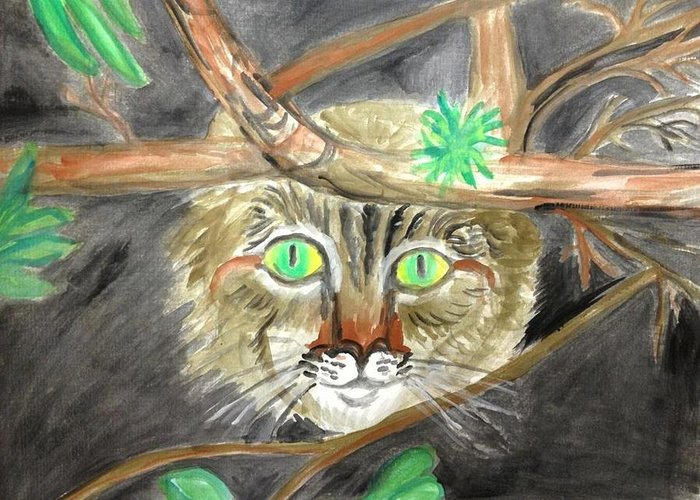 Cat Greeting Card featuring the painting Cat in the bushes by Caroline Lifshey