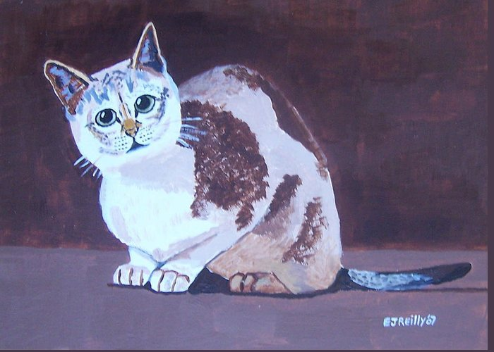 Cat Greeting Card featuring the painting Cat With Brown Background by Eamon Reilly