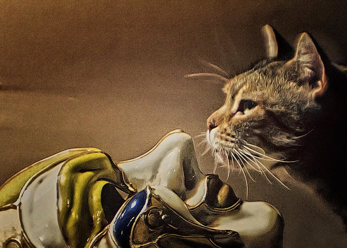 Cat Greeting Card featuring the photograph Cat With Venetian Mask by Alex AG