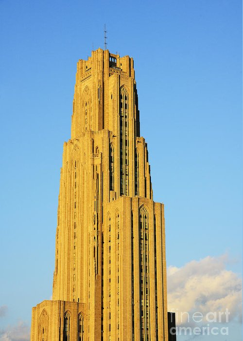 Cathedral Of Learning Greeting Card featuring the photograph Cathedral Of Learning In Evening Light by Thomas R Fletcher