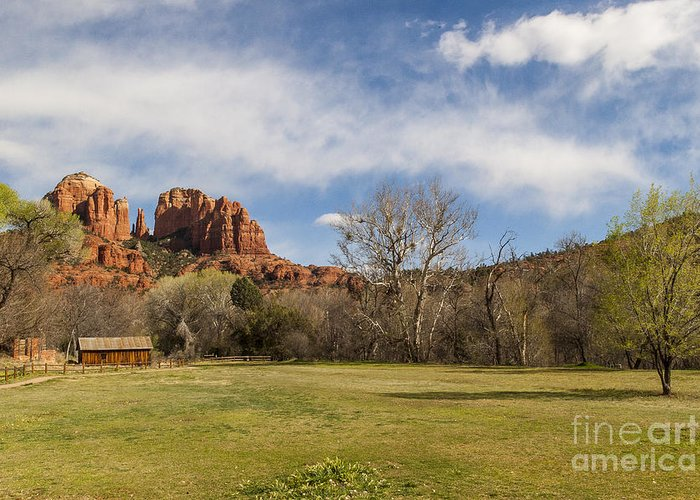 Cathedral Rock Greeting Card featuring the photograph Cathedral Rock From The Park by Darcy Michaelchuk