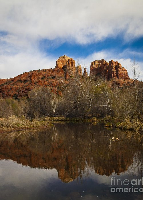 Cathedral Rock Greeting Card featuring the photograph Cathedral Rock Reflections Portrait 2 by Darcy Michaelchuk