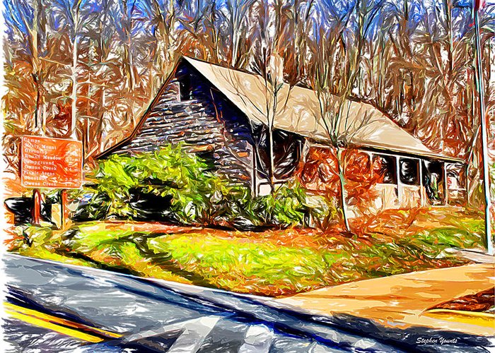 Catoctin Mountain Park Greeting Card featuring the digital art Catoctin Visitor Center by Stephen Younts