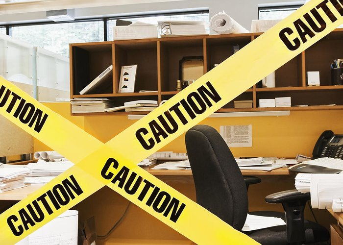 Architecture Greeting Card featuring the photograph Caution Tape Blocking A Cubicle Entrance by Jetta Productions, Inc
