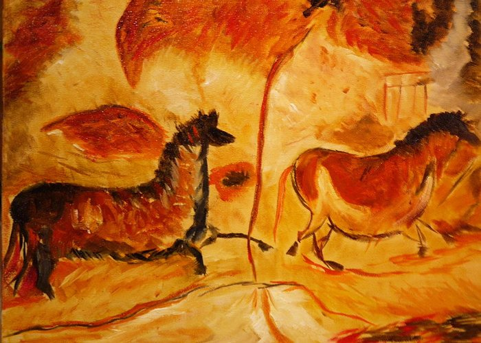 Cave Painting Greeting Card featuring the painting Cave Painting by Mark Malone