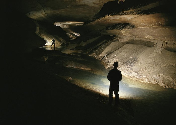 Caves Greeting Card featuring the photograph Cavers Stand In The New Discover by Stephen Alvarez
