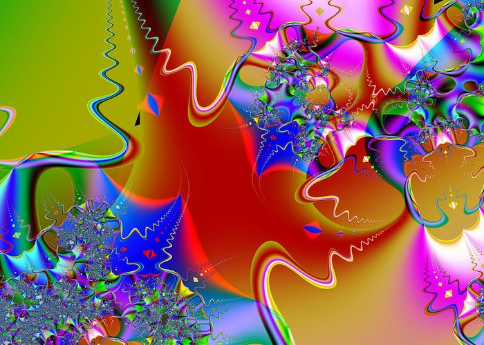Fractal Greeting Card featuring the digital art Celebration . Square . S16 by Wingsdomain Art and Photography