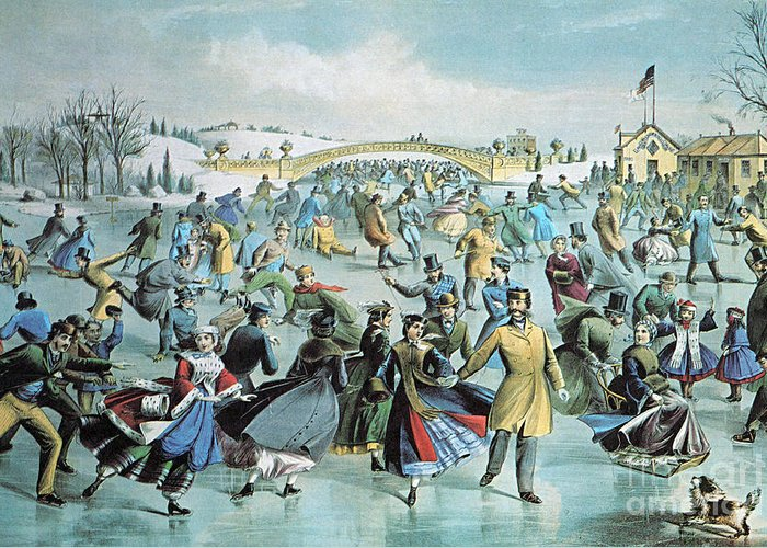 Currier & Ives Greeting Card featuring the photograph Central Park Skating Pond New York by Photo Researchers