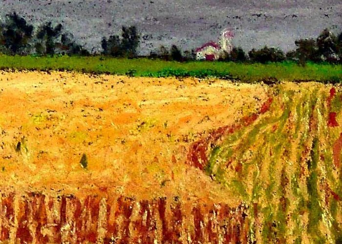Pastel Greeting Card featuring the pastel Central Pennsylvania Summer Wheat by Bob Richey