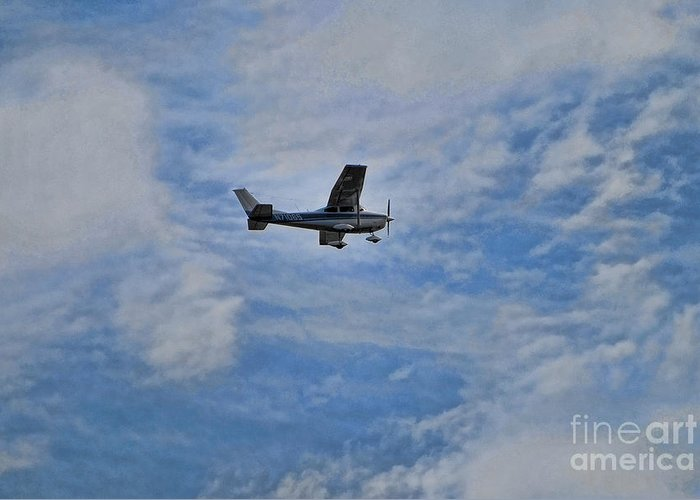 Cessna In Flight Greeting Card featuring the photograph Cessna In Flight by Paul Ward