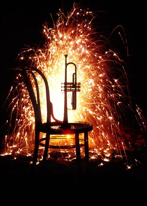 Chair Greeting Card featuring the photograph Chair And Horn With Fireworks by Garry Gay