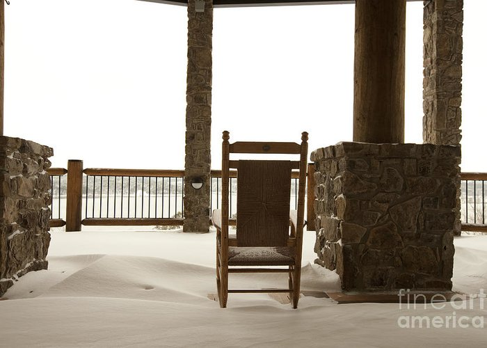 Architectural Detail Greeting Card featuring the photograph Chair On A Snowy Balcony by Will and Deni McIntyre