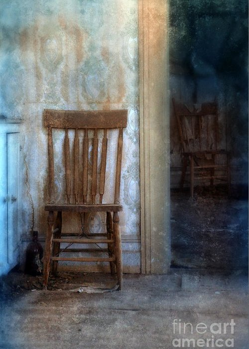 Abandoned House Greeting Card featuring the photograph Chairs In Rundown House by Jill Battaglia