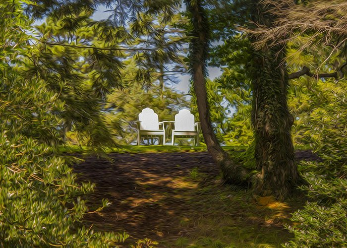 Landscape Greeting Card featuring the photograph Chairs In The Sun by Michel DesRoches