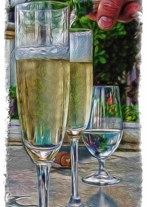 Champagne At The Beach Greeting Card featuring the photograph Champagne At The Beach by Joan Minchak