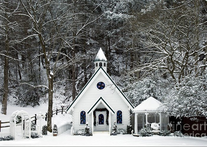 Wedding Greeting Card featuring the photograph Chapel In The Snow - D007592 by Daniel Dempster