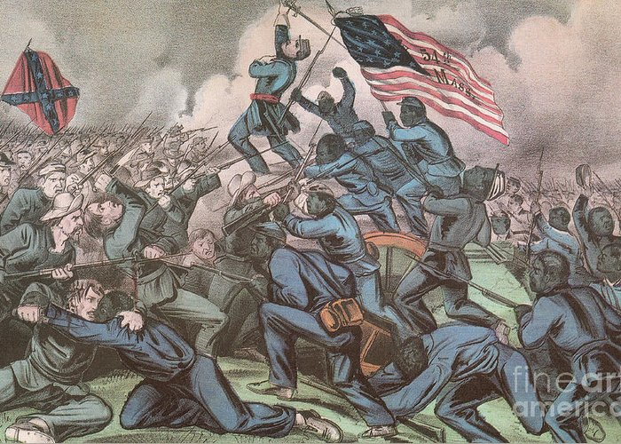 America Greeting Card featuring the photograph Charge Of The 54th Massachusetts by Photo Researchers