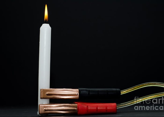 Candle Greeting Card featuring the photograph Charging A Candle by Mats Silvan