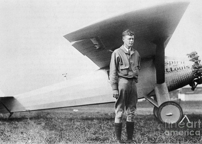 Charles Lindbergh Greeting Card featuring the photograph Charles Lindbergh American Aviator by Photo Researchers