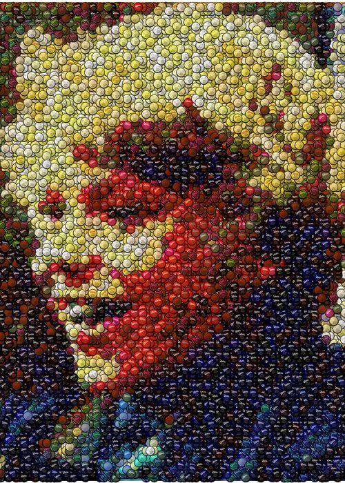 Willy Wonka Greeting Card featuring the digital art Charlie Buckets Fizzy Lifting Drinks Bottle Cap Mosaic by Paul Van Scott
