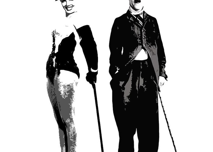 Charlie Charles Chaplin 1889 1926 1962 1977 Famous Star Movie Film Silent Actor Actress British English Tramp Comic Mime Slapstick Comedy Legend Marilyn Monroe Sex Symbol Norma Jean Woman Man Female Male Love Lovers Couple Hat Theater Stage Black White Expressionism Painting Digital Greeting Card featuring the painting Charlie Meets Marilyn by Steve K