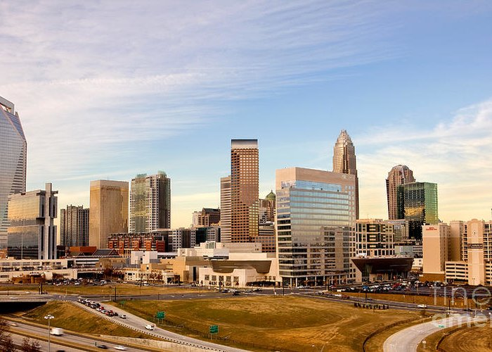Charlotte Greeting Card featuring the photograph Charlotte Skyline At Daylight by Patrick Schneider