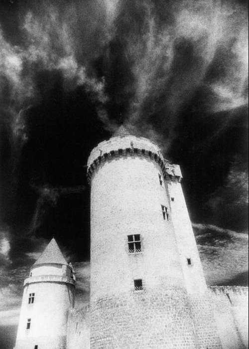 Architecture; Exterior; French; Castle; Renaissance; Tower; Towers; Fort; Fortress; Night; Dramatic; Atmospheric; Dark; Night; Stormy; Moonlit; Moonlight; Turret; Turrets; Haunted; Fairytale; Spooky; Eerie Greeting Card featuring the photograph Chateau De Blandy Les Tours by Simon Marsden
