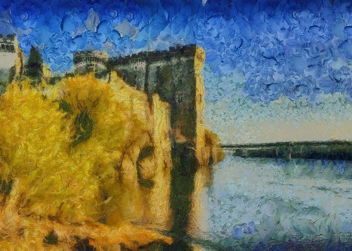 Chateau Greeting Card featuring the painting Chateau De Tarascon by Aaron Stokes