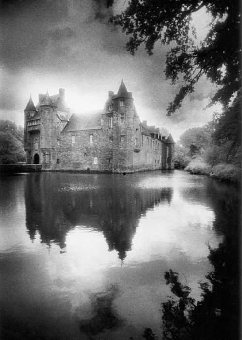 Architecture; French; Medieval; Castle; Palace; Moat; Moated Fort; Fortress; Towers; Misty; Reflection; Exterior; Facade Greeting Card featuring the photograph Chateau De Trecesson by Simon Marsden