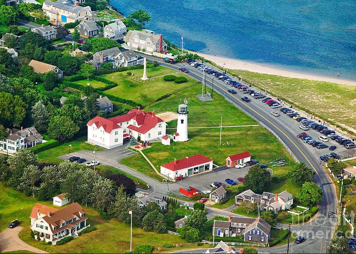 Aerial Greeting Card featuring the photograph Chatham Lighthouse Cape Cod Massachusetts by Matt Suess