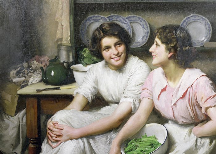 Chatterboxes Greeting Card featuring the painting Chatterboxes by Thomas Benjamin Kennington