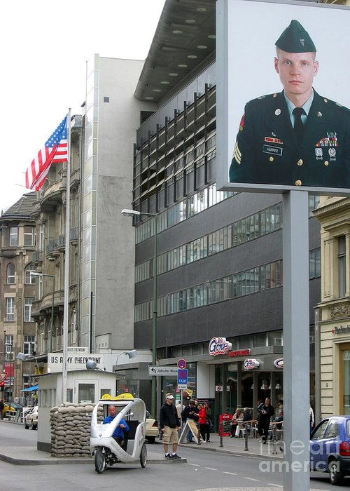 Check Point Charlie Greeting Card featuring the photograph Check Point Charlie Berlin Germany by Eva Kaufman