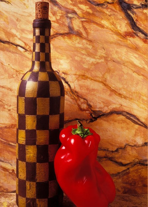 Wine Greeting Card featuring the photograph Checker Wine Bottle And Red Pepper by Garry Gay