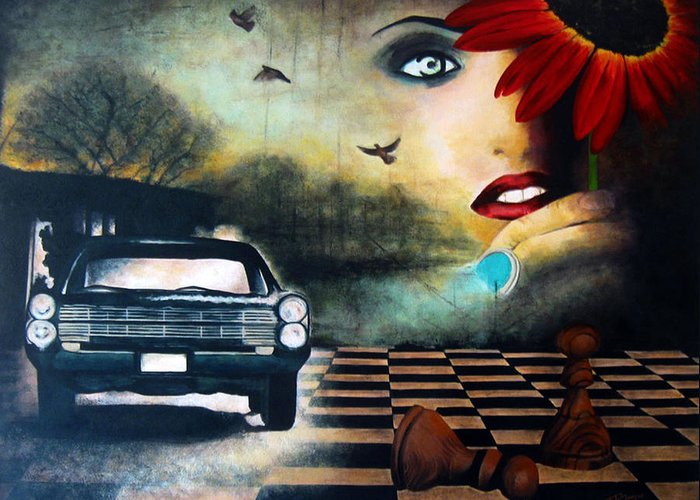 Realism Greeting Card featuring the painting Checkmate by Andrea Banjac