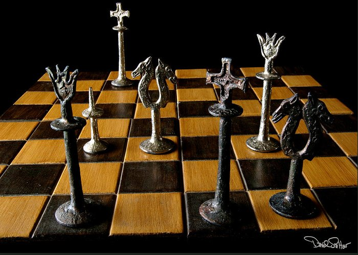 Chessboard Still-life Greeting Card featuring the photograph Checkmate by David Salter