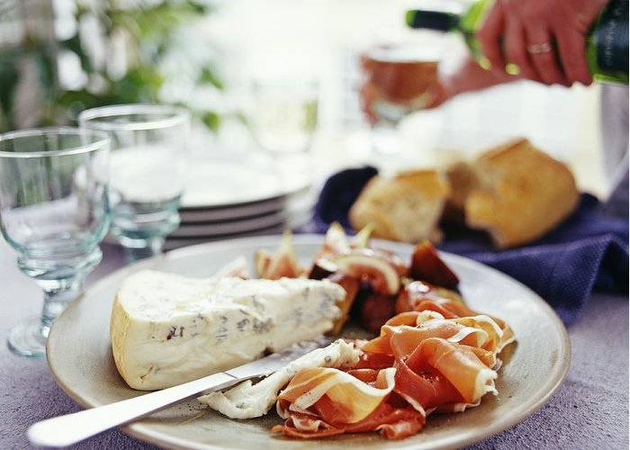 Food Greeting Card featuring the photograph Cheese And Ham Meal by David Munns