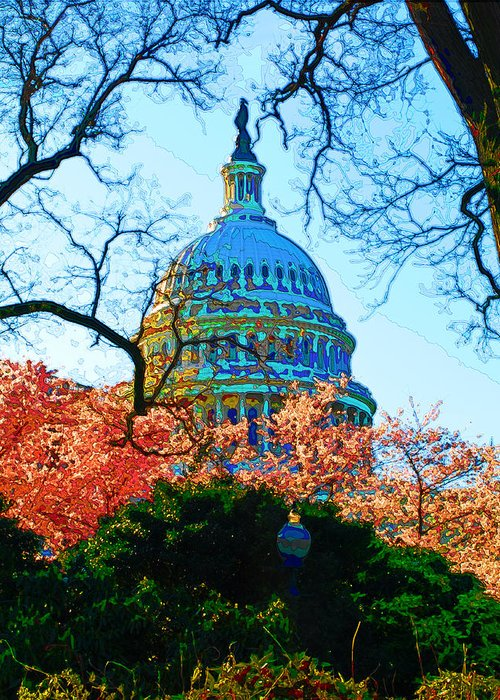 Cherry Blossoms Greeting Card featuring the digital art Cherry Blossoms And Capital Dome by Don Allen