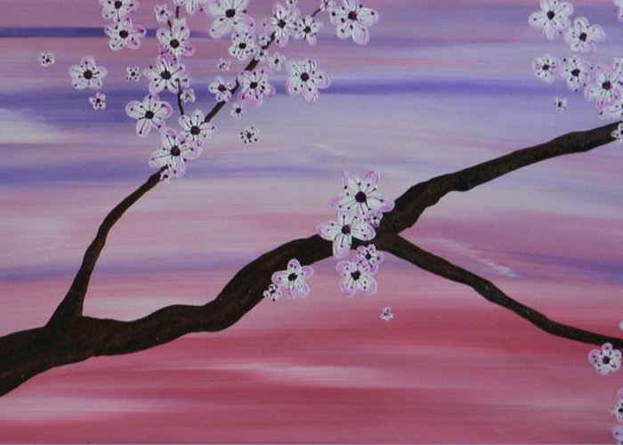 Cherry Blossoms Greeting Card featuring the painting Cherry Blossoms At Sunrise by Heather Hubb