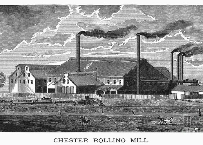 1885 Greeting Card featuring the photograph Chester Rolling Mill by Granger