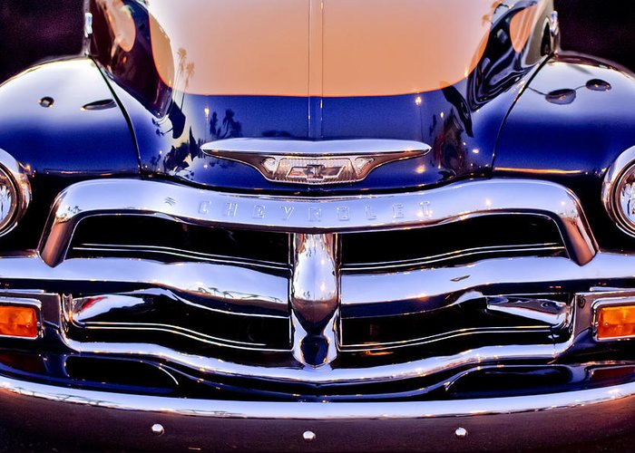 Chevrolet Pickup Truck Greeting Card featuring the photograph Chevrolet Pickup Truck Grille Emblem by Jill Reger