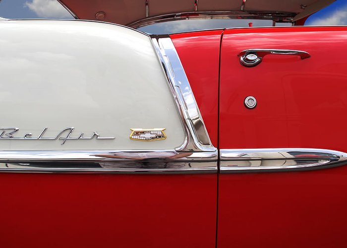 Transportation Greeting Card featuring the photograph Chevy Belair Classic Trim by Mike McGlothlen