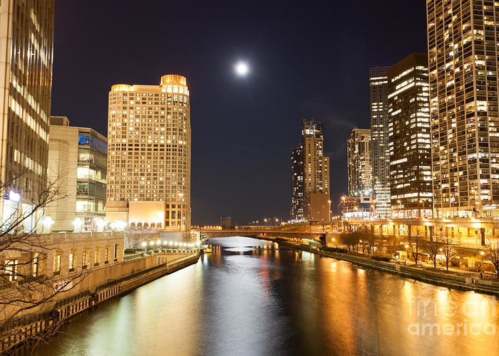 America Greeting Card featuring the photograph Chicago At Night At Columbus Drive Bridge by Paul Velgos