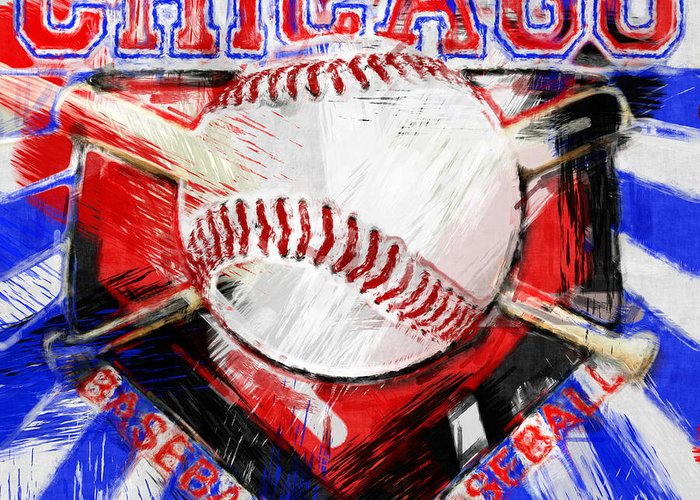 Chicago Greeting Card featuring the photograph Chicago Baseball Abstract by David G Paul