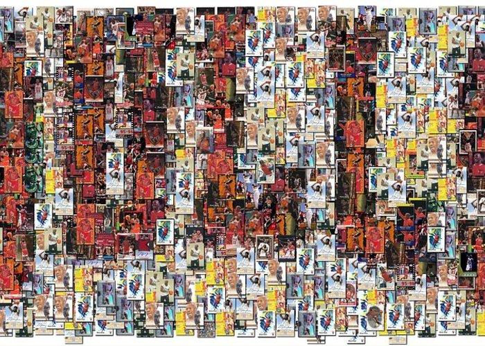 Chicago Bulls Greeting Card featuring the photograph Chicago Bulls Michael Jordan Cards Mosaic by Paul Van Scott