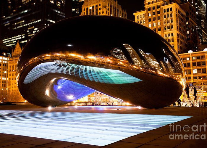 2012 Greeting Card featuring the photograph Chicago Cloud Gate Luminous Field by Paul Velgos