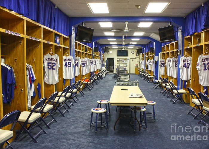 Chicago Cubs Greeting Card featuring the photograph Chicago Cubs Dressing Room by David Bearden